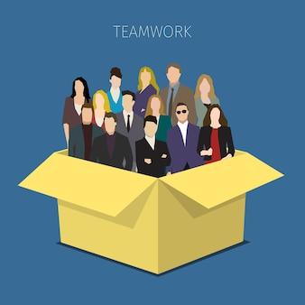 Concept van teamwerk. grote groep mannen en vrouwen in de doos. platte ontwerp illustratie.