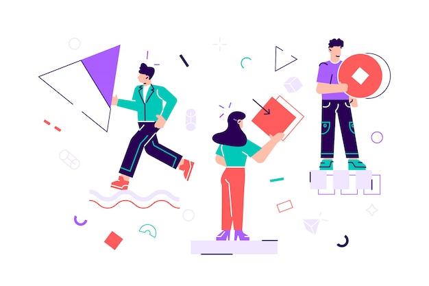 Concept van teamwerk. paar mensen verzamelen en organiseren abstracte geometrische vormen verspreid over hen. man en vrouw met cirkels. vlakke stijl hedendaagse cartoon illustratie voor web