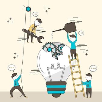 Concept van teamwork: zakenlieden die een kapotte lamp samen in lijnstijl repareren