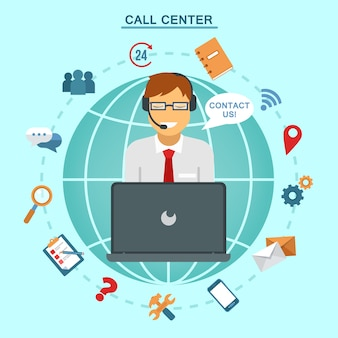 Concept van technical online support call center. computer remote nonstop support service