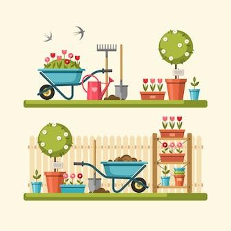 Concept van tuinieren. tuingereedschap.