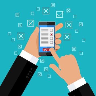 Concept van verkiezing. hand met smartphone met stemapp op het scherm. platte ontwerp, vectorillustratie.