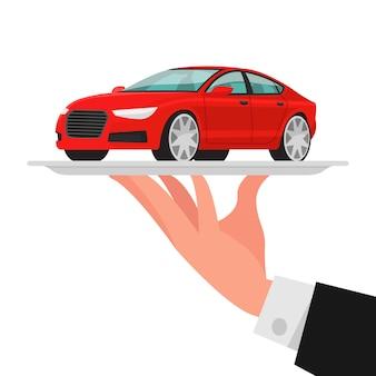 Concept van verkoop, verhuur, service van de auto. rode sedan op een dienblad. illustratie in een vlakke stijl