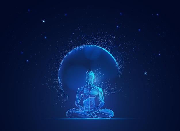 Concept van verlichtingsgeest, grafisch van wireframe man die mediteert met de achtergrond in de ruimte
