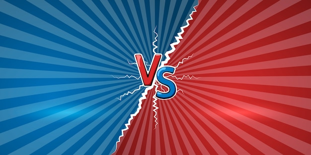 Concept van versus. ontwerpsjabloon voor tegen, confrontatie, competitie of uitdaging. vs letters op retro achtergrond