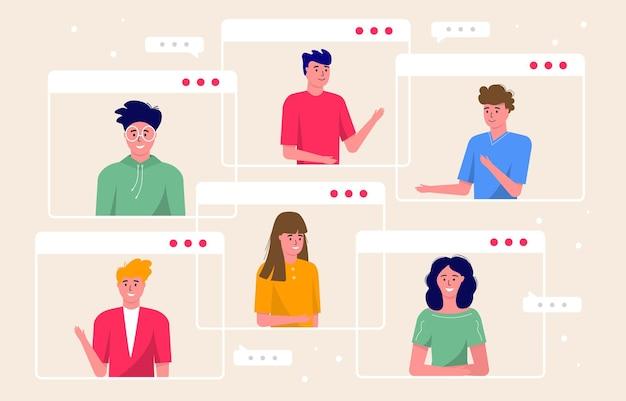 Concept van videoconferentie en online vergaderwerkruimte. ontwerpsjabloon met mensen uit het bedrijfsleven nemen, freelance, verslag, flyer, marketing, folder, reclame, brochure, moderne stijl vector.