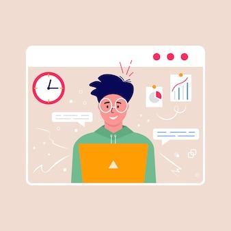 Concept van videoconferentie en online vergaderwerkruimte. ontwerpsjabloon met mensen uit het bedrijfsleven nemen, strategieplanning, rapport, flyer, marketing, folder, reclame, brochure, moderne stijl vector.