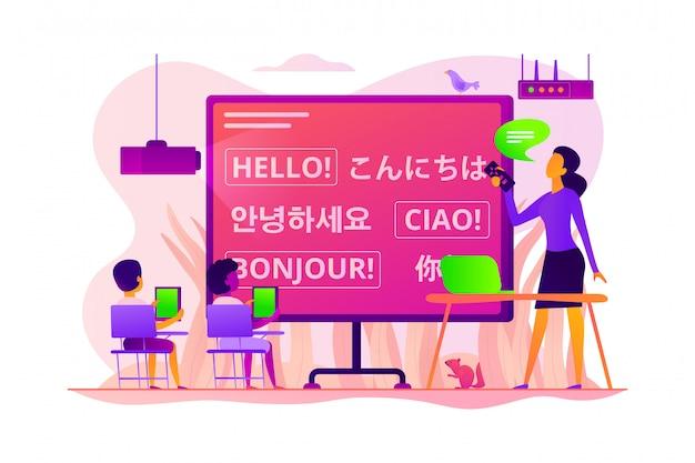 Concept van vreemde talen.