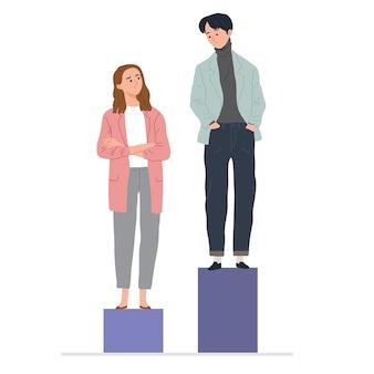 Concept van vrouw en man loonkloof ongelijkheid tussen mannen en vrouwen op de werkplek