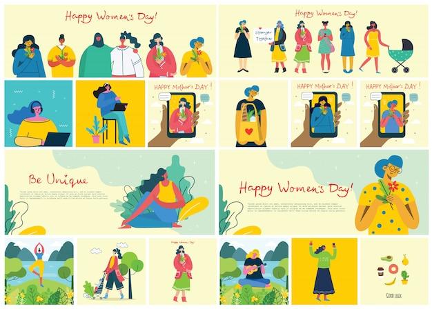 Concept van vrouwen unieke achtergrond. stijlvolle moderne vector illustratie kaart met gelukkige vrouwelijke vrouw