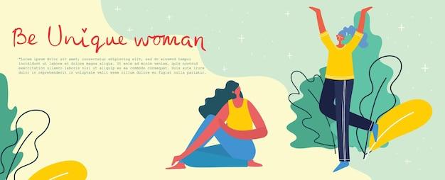 Concept van vrouwen unieke achtergrond. stijlvolle moderne vectorillustratiekaart met gelukkige vrouwelijke vrouw en handtekeningcitaat wees uniek