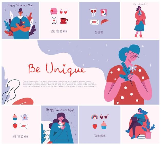 Concept van vrouwen unieke achtergrond stijlvolle vector illustratie kaart met gelukkige vrouwelijke vrouw en hand...