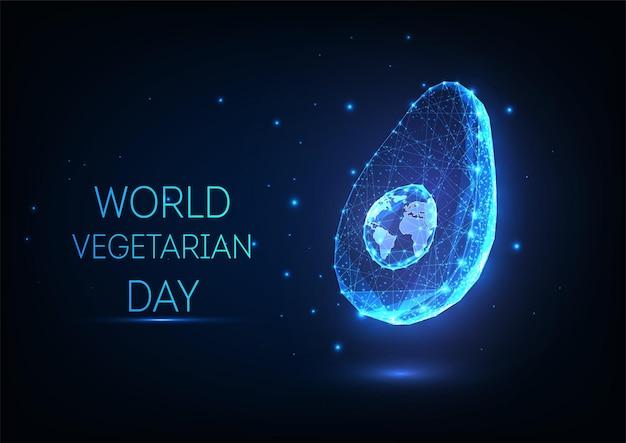 Concept van wereld vegetarische dag met abstracte gloeiende avocado en wereldbol