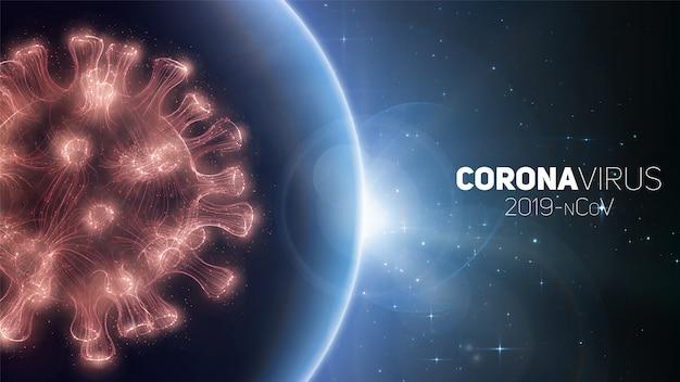 Concept van wereldwijde coronavirus pandemie. waarschuwing voor wereldwijde virusuitbraak. virusstructuur op een planeet aarde achtergrond met sterren. internationale infectie. illustratie.