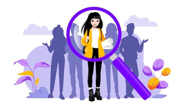 Concept van wervingsbureau en menselijke hulpbronnen. hr-manager kiest de beste kandidaten voor een baan. werkgever zoekt professionele getalenteerde werknemers.