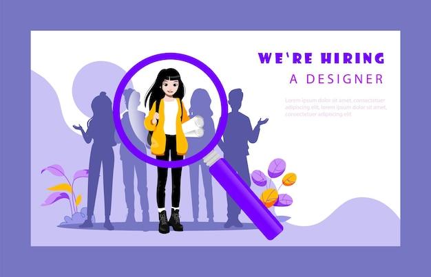Concept van wervingsbureau en menselijke hulpbronnen. website bestemmingspagina. hr-manager kiest de beste kandidaten voor de functie van ontwerper voor het bedrijf. webpagina cartoon vlakke stijl vectorillustratie.