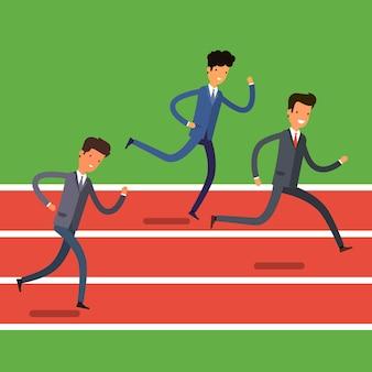 Concept van winnen. cartoon zakenmensen rennen naar de finish. teamleider competitie. platte ontwerp, vectorillustratie.