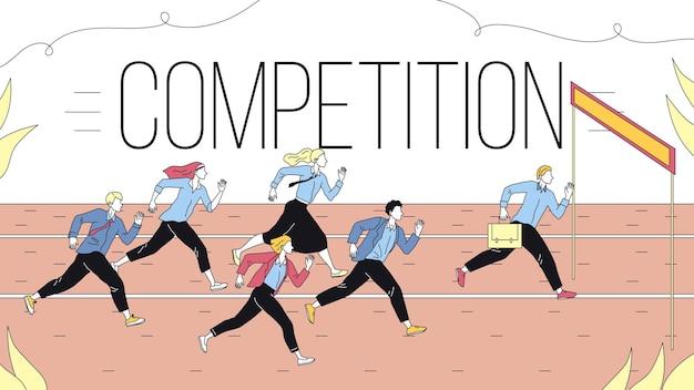 Concept van zakelijke marketingstrategieën, teamwerk en concurrentie. metafoor van zakelijke uitdaging van het runnen van bedrijfsmensengroep naar het doel. cartoon lineaire omtrek vlakke stijl. vector illustratie