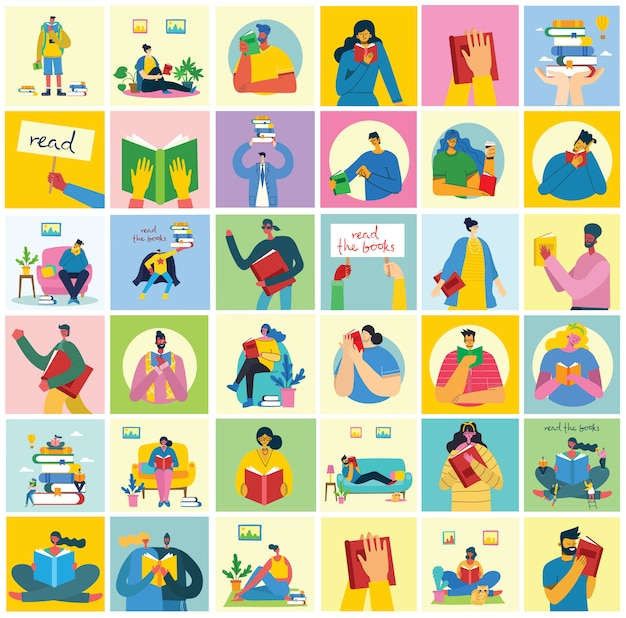 Concept vectorillustraties van world book day, het lezen van de boeken en het boekfestival in de vlakke stijl. mensen zitten, staan en lopen en lezen een boek