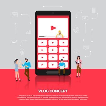 Concept vlog. team ontwikkelt online kanaalvideo. illustreren.