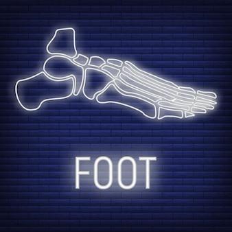Concept voet bot pictogram gloed neon stijl, skelet deel organisme, röntgen menselijk lichaamsbeeld geïsoleerd op zwarte, platte vectorillustratie. silhouet zwarte biologische wetenschap.