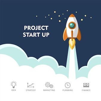 Concept voor het opstarten van een nieuw zakelijk project met de lancering van een nieuw product of dienstillustratie