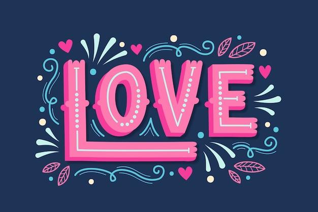 Concept voor liefde belettering bericht
