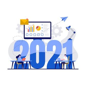 Concept voor online leren en onderwijs op afstand met karakter.
