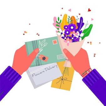 Concept voor snelle bloemenbezorging met ambachtelijke papieren envelop. online bezorgservice met boeket