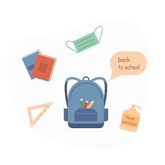 Concept voor terug naar school na pandemie. studentenrugzak met briefpapier, boeken, potlood, gezichtsmasker en handdesinfecterend middel. platte vectorillustratie geïsoleerd op wit. vector illustratie