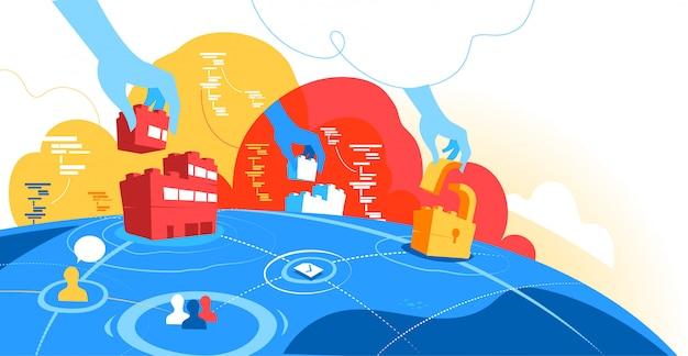 Concept voor wereldwijde communicatie-industrie. bedrijven die gegevens delen