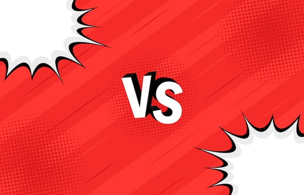 Concept vs. versus. strijd. retro achtergrondstrips stijlontwerp met halftoon, bliksem.