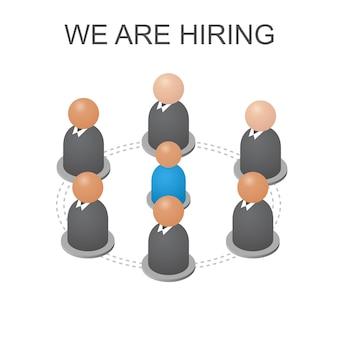 Concept we huren jou in. isometrische abstracte groep mensen. zakenlieden en arbeiders banen. hulp voor werklozen. geïsoleerd op een witte achtergrond. vector illustratie.