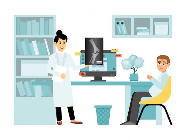 Concept x-ray vrouwelijke arts karakter medisch onderzoek kamer, ontvangt arts overleg geïsoleerd op wit, illustratie.