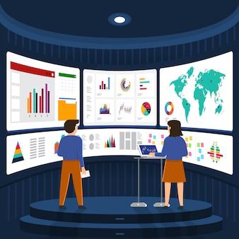 Concept zakenman analyse digitale gegevens. illustreren