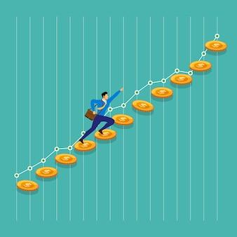 Concept zakenman succes draait op geldgroei omhoog. illustreren.
