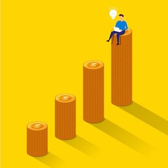 Concept zakenman succes zitten op geldgroei. illustreren.