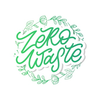 Concept zero waste handgeschreven tekst titelteken. vector illustratie.