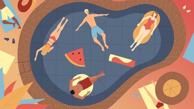 Concept zomervakanties. gelukkige mannen en vrouwen die tijdens vakanties in het zwembad ontspannen. tekens die in de zon op luchtbedden en rubberen ringen in zwembad leggen. cartoon vlakke stijl vectorillustratie.