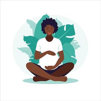 Concept zwangerschap, moederschap, yoga, meditatie en gezondheidszorg. afrikaanse zwangere vrouw. illustratie in vlakke stijl.