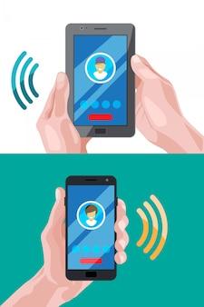 Conceptafbeeldingen van zakelijke verbindingen op telefoons of smartphones.