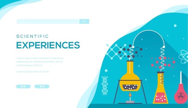Conceptapparatuur voor chemisch en wetenschappelijk onderzoek. webbanner voor chemische onderzoeksapparatuur.