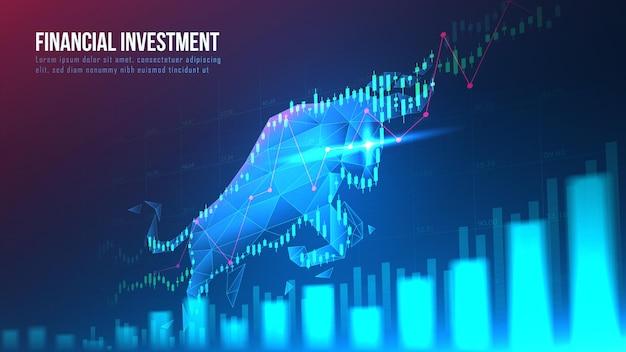Conceptart van bullish in futuristisch idee geschikt voor aandelenmarketing of financiële investeringen