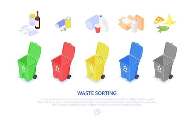 Conceptbanner voor het sorteren en recyclen van afval. gekleurde vuilnisbakken. scheiding en verwerking.