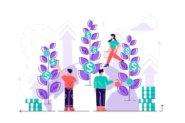 Conceptbedrijf houdt zich bezig met het gezamenlijk bouwen en cultiveren van geld contante winsten voor presentatie, social media, documenten, kaarten, posters. vlakke afbeelding carrièregroei tot succes