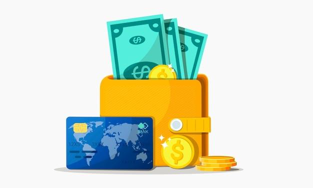 Concepten van financiën. portemonnee met geld, dollars en munten, contant geld, valuta, creditcard. rijkdom concept.