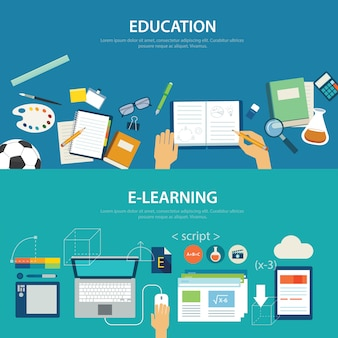 Concepten van onderwijs en e-learning plat ontwerp