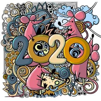 Conceptenbeeld van symbool Chinees gelukkig nieuw jaar 2020