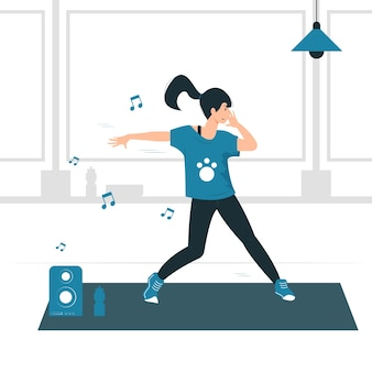 Conceptenillustratie van een vrouwenmeisje die zumba dans, oefening, training en fitness doen.