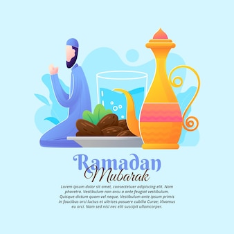 Conceptenillustratie van het breken van het vasten in de maand ramadan met een platte ontwerpstijl